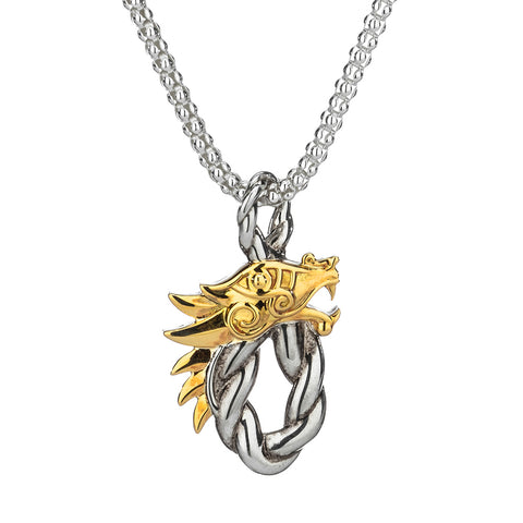 Oval Head Dragon Necklace, Sterling Silver & 10k Gold