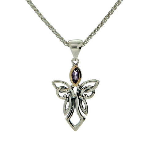 Guardian Angel Small Pendant Necklaces, Sterling Silver & 10k Gold