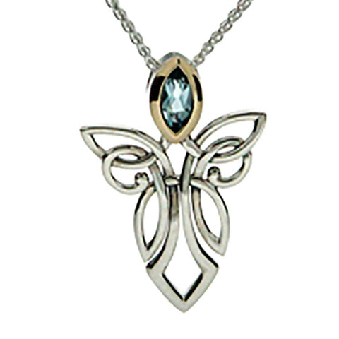 Keith Jack Jewelry-Angel Sky Blue Topaz Necklace, Sterling Silver & 10k Gold