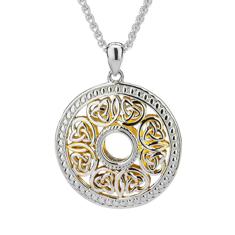 Window to the Soul Eternity Knot Wheel Necklace, Sterling Silver & 22k Gilded Gold