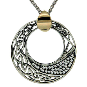 Keith Jack Jewelry-Celtic Comet Necklace, Sterling Silver, 10k Gold & White Topaz