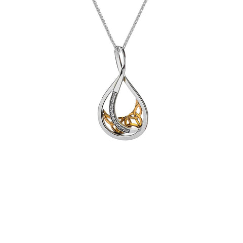 Trinity Necklace with White Sapphires, Sterling Silver & 10k Gold
