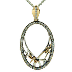 Keith Jack Jewelry-Dragonfly Gateway Necklace, Oxidized Sterling Silver, 10k Gold & Cubic Zirconia
