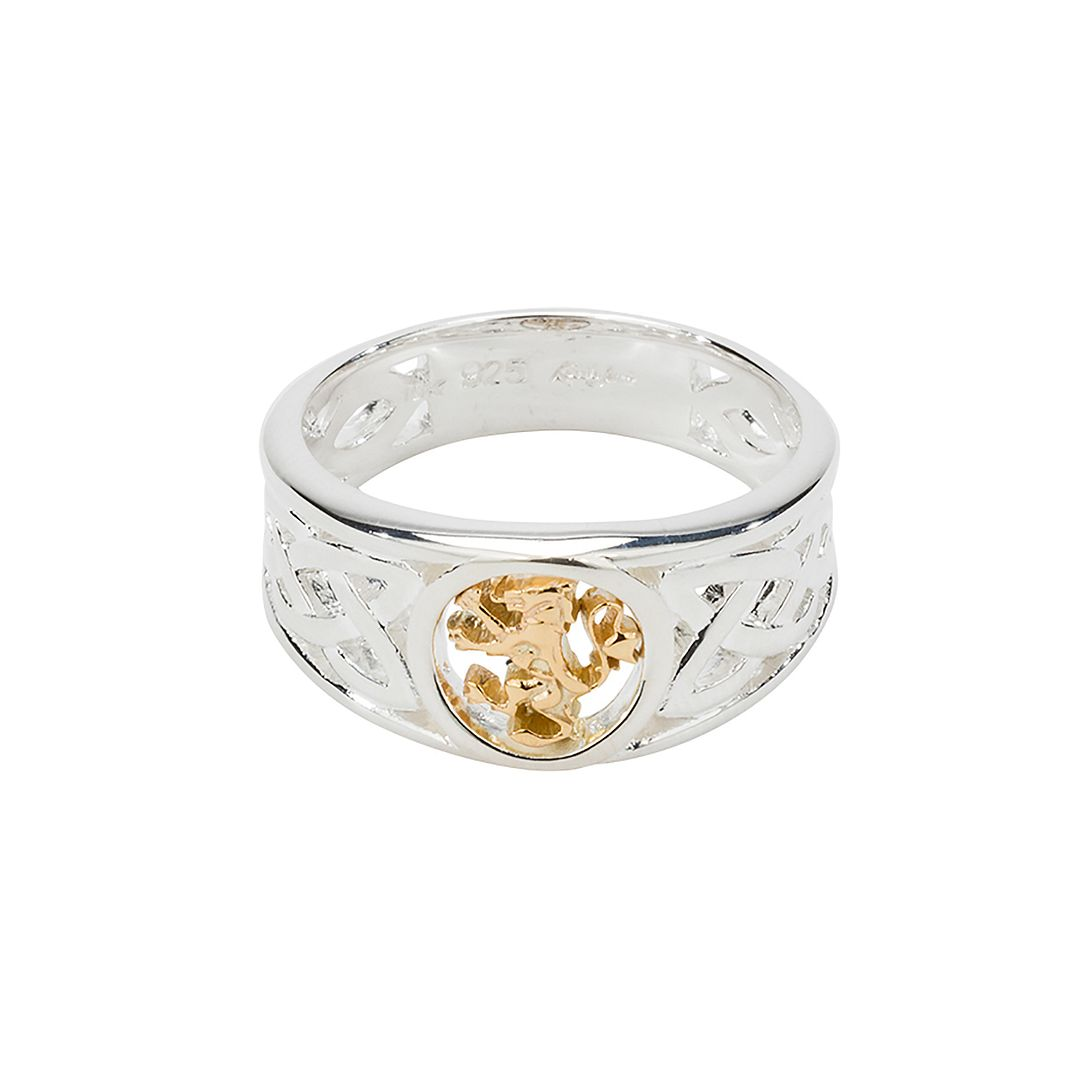 Lion Rampant Ring, Sterling Silver & 10k Gold