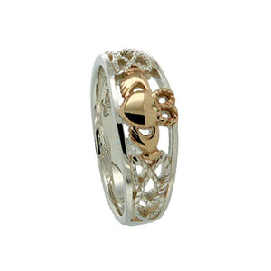 Keith Jack Jewelry-Small Claddagh Heart Ring (Tapered), Sterling Silver & 10k Gold