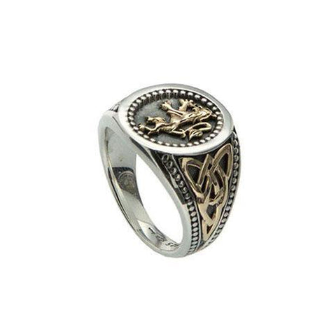 Lion Rampant Large Ring (Tapered), Sterling Silver & 10k Gold