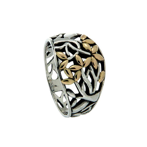 Keith Jack Jewelry-Tree of Life Ring (Tapered), Sterling Silver & 18k Gold