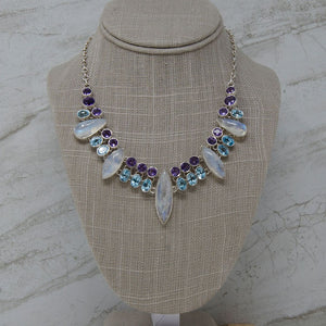 Rainbow Moonstone Statement Necklace, Blue Topaz and Amethyst Accents
