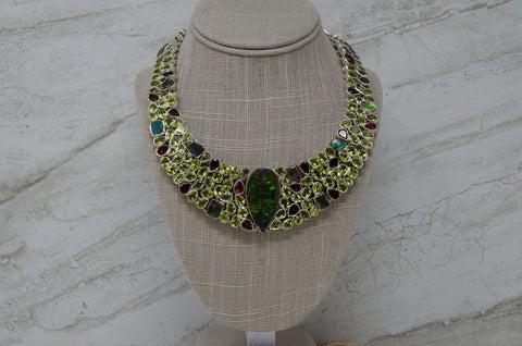 Ammolite Fossil Multistone Statement Bib Necklace