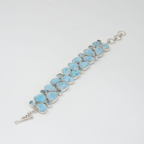 Larimar and Blue Topaz Toggle Bracelet