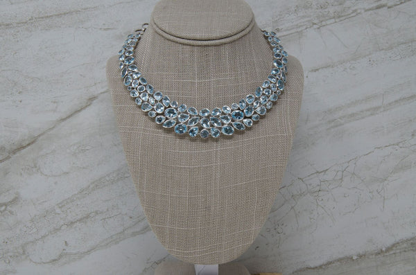Blue Topaz Statement Bib Necklace