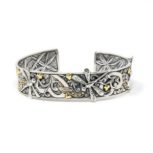 Dragonfly Lovers Cuff, 925 Sterling Silver & 18k Gold