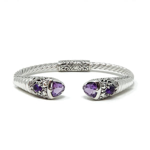 Amethyst or Blue Topaz Lotus Flower Bracelet, 925 Sterling Silver