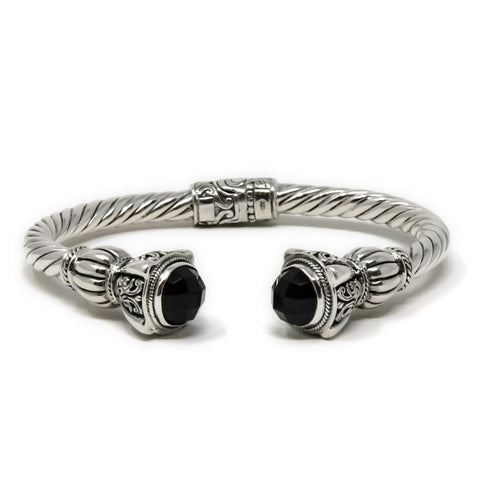 Onyx Cable Bracelet, 925 Sterling Silver
