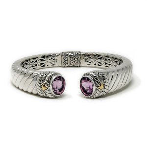 Amethyst Thick Cable Bracelet, 925 Sterling Silver & 18k Gold