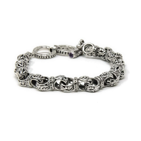 Amethyst Filigree Toggle Bracelet, 925 Sterling Silver