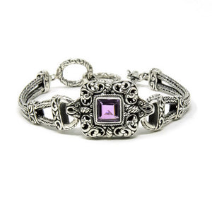 Amethyst Filigree Framed Braided Toggle Bracelet, 925 Sterling Silver