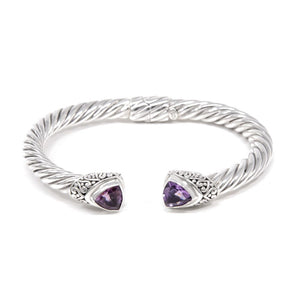 Amethyst Open Twisted Cable Bracelet, 925 Sterling Silver