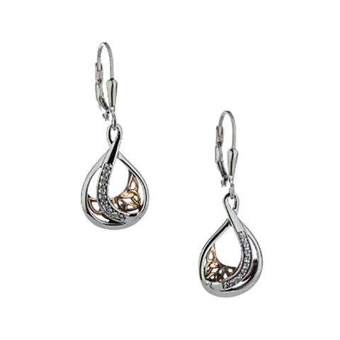Trinity Teardrop Earrings, Sterling Silver, 10k Gold, White Sapphire