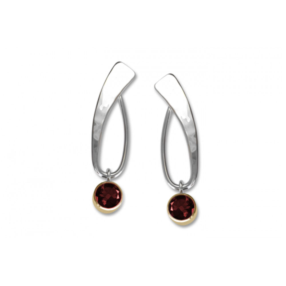 Bebop Garnet Earrings, Sterling Silver and 14k Gold