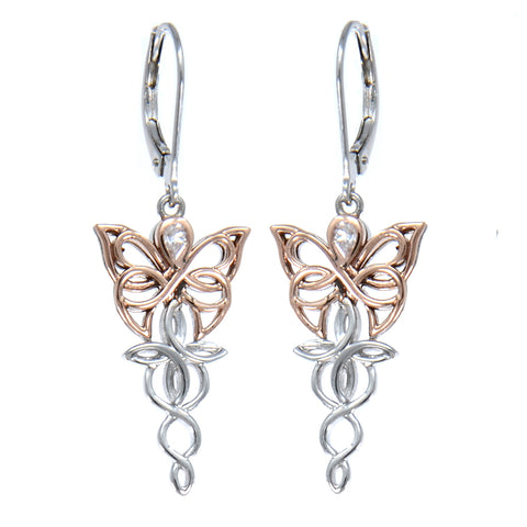 Butterfly Leverback CZ Earrings, Sterling Silver & 10k Rose Gold