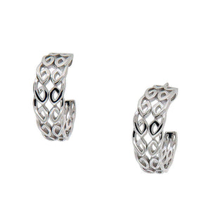 Half Creole Bridge Earrings, Sterling Silver & CZ