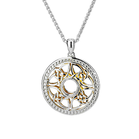 Window to the Soul Beaded Wheel Necklace, Sterling Silver & 22k Gilded Gold