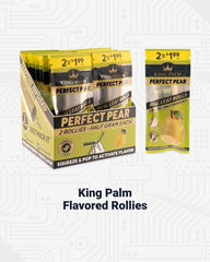 A display of King Palm Perfect Pear flavored Rollie size pre-rolled cones is shown. A 20 count display is shown on the left on an angle, and a loose 2-pack pouch is shown to the right.