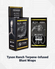 Tyson Ranch Terpene-Infused Blunt Wraps. There is a display shown on the left on an angle, and a loose single count pouch on the right.