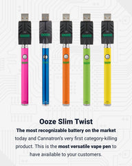 5 Ooze Slim Twist vape pen batteries are lined up together with the smart USB chargers attached. from left to right, the colors are pink, blue, orange, green, and yellow. Below is text explaining why these batteries are category killers