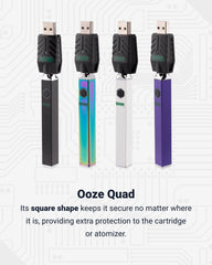 4 Ooze Quad square vape batteries are lined up together with the smart USB chargers attached. From left to right the colors are black, rainbow, white, and purple. Below is text explaining why these batteries are category killers.
