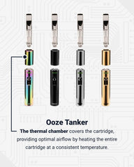4 Ooze Tanker vape batteries are lined up together, with the heating chamber slightly disconnected from the base, and a cartridge being inserted into each one. From left to right the colors are rainbow, black, chrome, and gold. Below is text explaining the function of the thermal chamber.