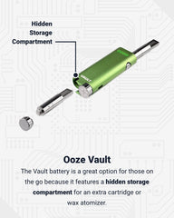 A green Ooze Vault vape battery is shown in a diagram that reveals a wax atomizer in the hidden storage compartment on the bottom. There is also a cartridge attached at the top. Below is text explaining the function of the compartment.