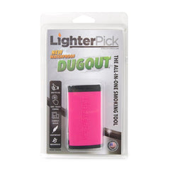 A pink Lighterpick dugout closed in original packaging against a white background.