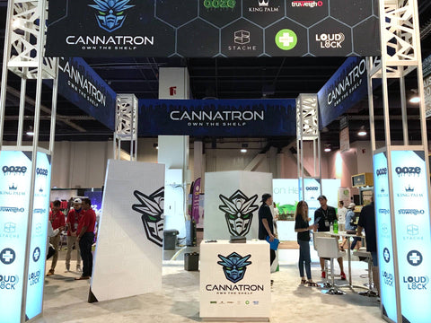 The new Cannatron tradeshow booth is fully assembled at Champs Las Vegas