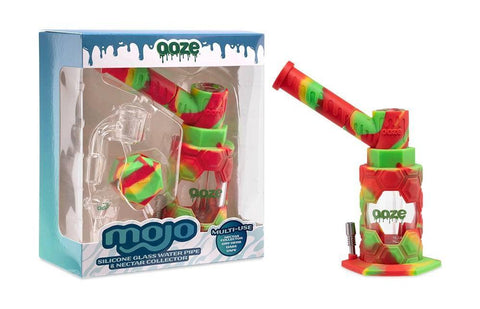 Ooze Mojo Hybrid Glass Piece in Red, Yellow, and Green. In Box on the left and out of box on right.