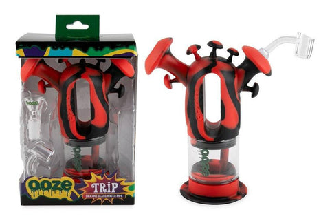 Ooze Trip Hybrid Glass Piece in Black and Red. In Box on the left and out of box on right.