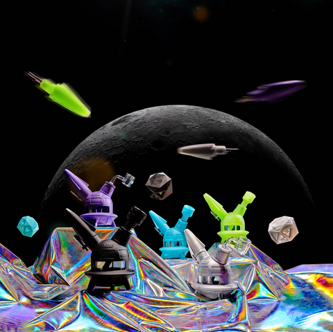 Ooze UFO in Aqua Teal, Green Glow, Stellar Silver, Shimmer Purple, and Shimmer Black in front of space themed background