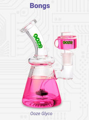 """A pink Ooze Glyco freezable glycerin-filled bong water pipe is shown with the matching bowl inserted. The title reads """"Bongs"""" written in purple and the name of the piece is written below it."""