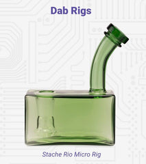 """The clear green Stache Micro Rig dab rig glass piece is shown with the title """"Dab Rigs"""" spelled out in purple across the top. The name of the piece is written below."""