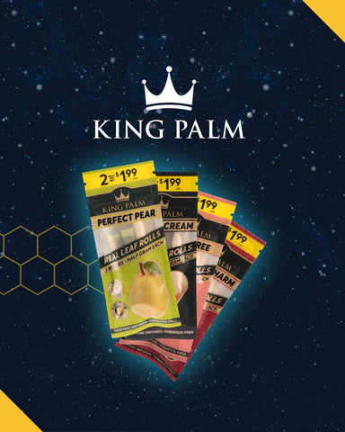King Palm rollies in new flavors: Cherry Charm, Peach Tree, Perfect Pear, and Gelato Cream