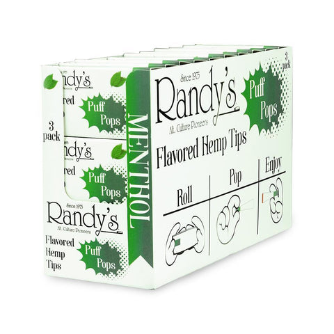 Randy's Puff Pops - Flavored Hemp Tips - Menthol - 30ct