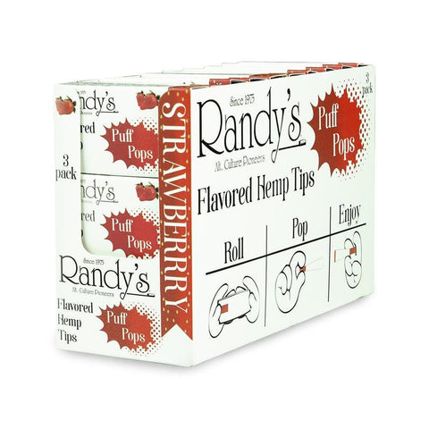 Randy's Puff Pops - Flavored Hemp Tips - Strawberry - 30ct