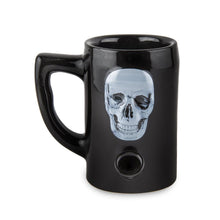 Load image into Gallery viewer, Skull Porcelain Mug - Black Pipes