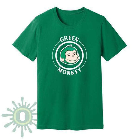 Green Monkey White Logo Men's T-Shirt