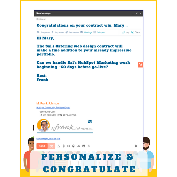 HubSpot Perfect One-to-One Email Template Example - Personalize & Congratulate