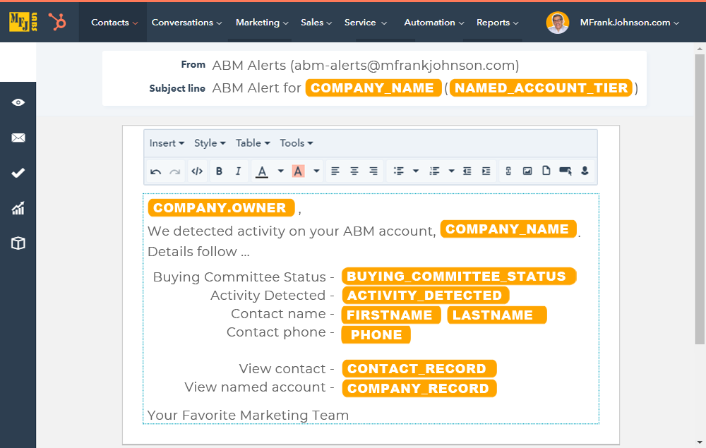 HubSpot ABM Alert Email Template - Significant Activity On Named Account