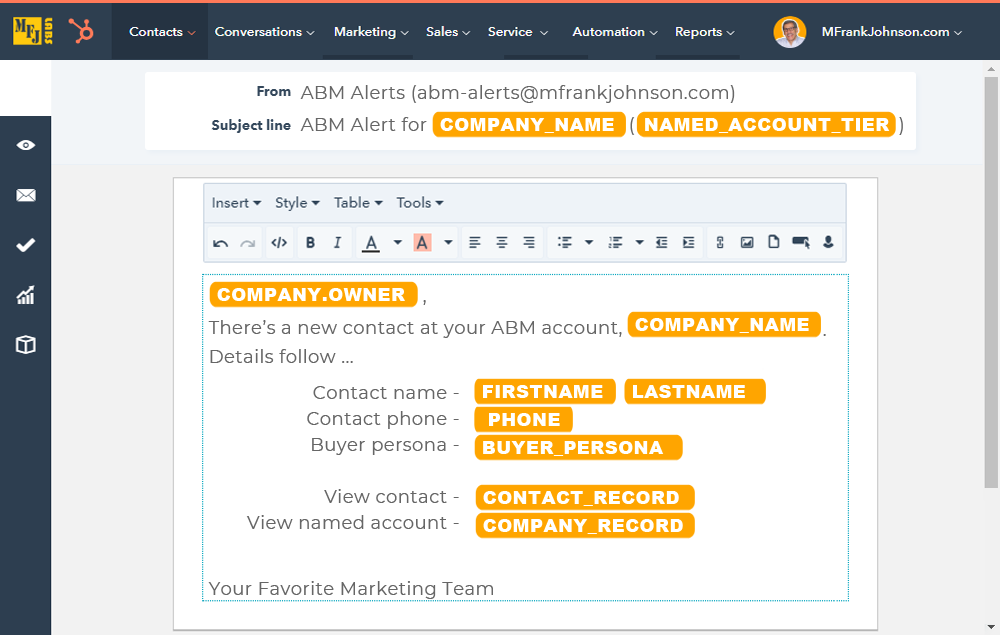 HubSpot ABM Alert Email Template - New Contact On Named Account