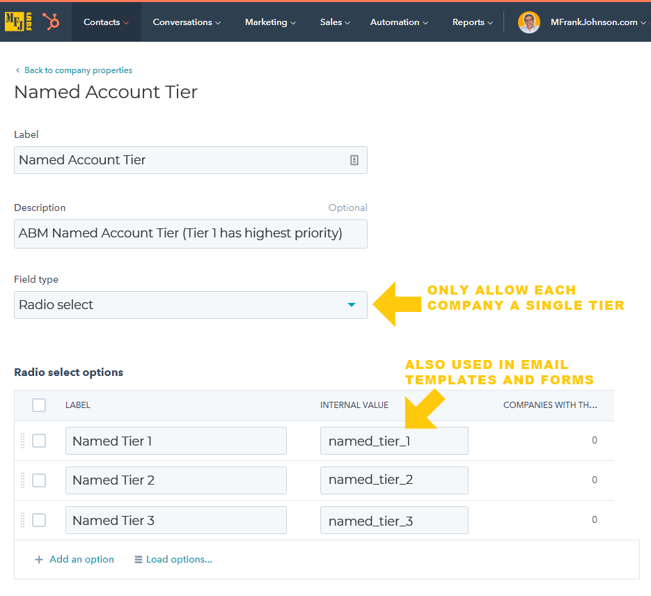 HubSpot ABM Custom Company Property: Named Account Tier