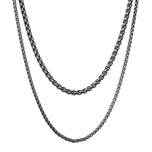 Double Layered Box Chain Necklace - Silver 2mm x 3mm